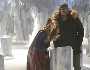 """Solitude"" -- Kara travels to Superman's Fortress of Solitude in hopes of learning how to defeat Indigo, a dangerous being who can transport via the Internet and who has a connection to Kara's past, on SUPERGIRL, Monday, Feb. 29 (8:00-9:00 PM, ET/PT) on the CBS Television Network. Pictured left to right: Melissa Benoist and Mehcad Brooks Photo: Darren Michaels/CBS ©2016 CBS Broadcasting, Inc. All Rights Reserved"