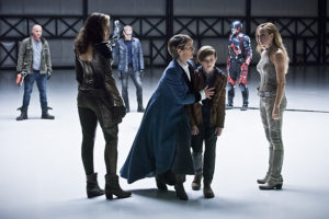 """DC's Legends of Tomorrow -- """"Last Refuge""""-- Image LGN112b_0284b.jpg -- Pictured (L-R): Dominic Purcell as Mick Rory/Heat Wave, Ciara Renee as Kendra Saunders/Hawkgirl, Wentworth Miller as Leonard Snart/Captain Cold, Celia Imrie as Mary Xavier, Aiden Longworth as Young Rip Hunter, Brandon Routh as Ray Palmer/Atom and Caity Lotz as Sara Lance/White Canary -- Photo: Dean Buscher/The CW -- © 2016 The CW Network, LLC. All Rights Reserved."""