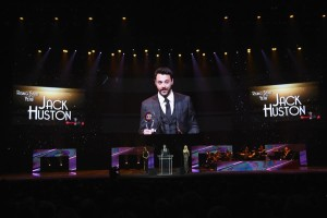 LAS VEGAS, NV - APRIL 14:  Actor Jack Huston accepts the Rising Star of the Year Award during the CinemaCon Big Screen Achievement Awards brought to you by the Coca-Cola Company at The Colosseum at Caesars Palace during CinemaCon, the official convention of the National Association of Theatre Owners, on April 14, 2016 in Las Vegas, Nevada.  (Photo by Ethan Miller/Getty Images ) *** Local Caption *** Jack Huston