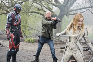 """DC's Legends of Tomorrow --""""Legendary""""-- Image LGN116a_0096b.jpg -- Pictured (L-R): Brandon Routh as Ray Palmer/Atom, Dominic Purcell as Mick Rory/Heat Wave and Caity Lotz as Sara Lance/White Canary -- Photo: Dean Buscher/The CW -- © 2016 The CW Network, LLC. All Rights Reserved."""