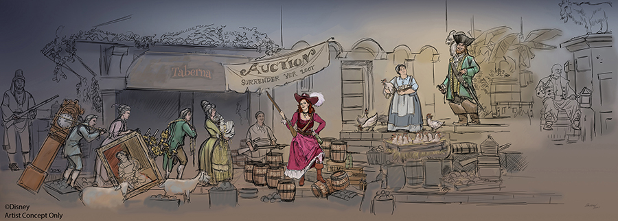 Artist Concept of the new Auction Scene on the Pirates of The Caribbean Rides Worldwide